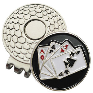 1-x-New-Magnetic-Hat-Clip-with-Aces-Ball-Marker-For-Golf-Hat-or-Visor