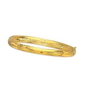 14Kt-Yellow-Gold-Florentine-Etched-Domed-Bangle-Bracelet-8-034-5mm-3-16-5-grams