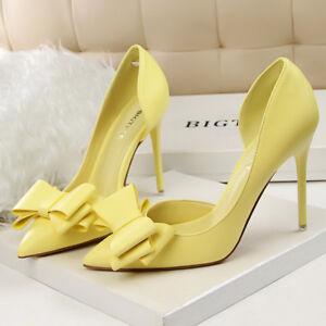 Women-Pumps-Shoes-PU-Sweet-Bow-Slip-On-Stilettos-High-Heels-Party-Ladies-Sandals