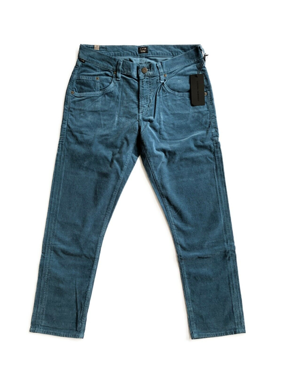 CITIZENS OF HUMANITY Lennox Crop DropRise Loose Fit Corduroy Pants bluee  198
