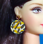Barbie Dreamz TIGER EARRINGS Wild Animal Pattern Round Discs MOD Doll Jewelry