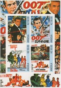 JAMES-BOND-007-SEAN-CONNERY-SPY-MOVIE-ANGOLA-IMPERFORATED-MNH-STAMP-SHEETLET