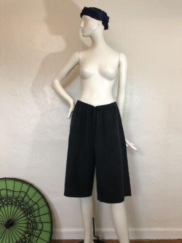 totokaelo Washed Black Silk Bermuda Shorts With El