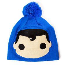 OFFICIAL DC COMICS POP CARTOON SUPERMAN BIG FACE BLUE BEANIE HAT (BRAND NEW)