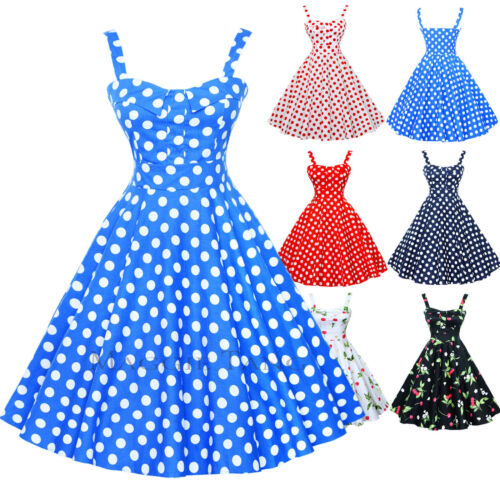 Maggie Tang 50s VTG Hepburn Rockabilly Cherry Pinup Party Swing Dress R-537
