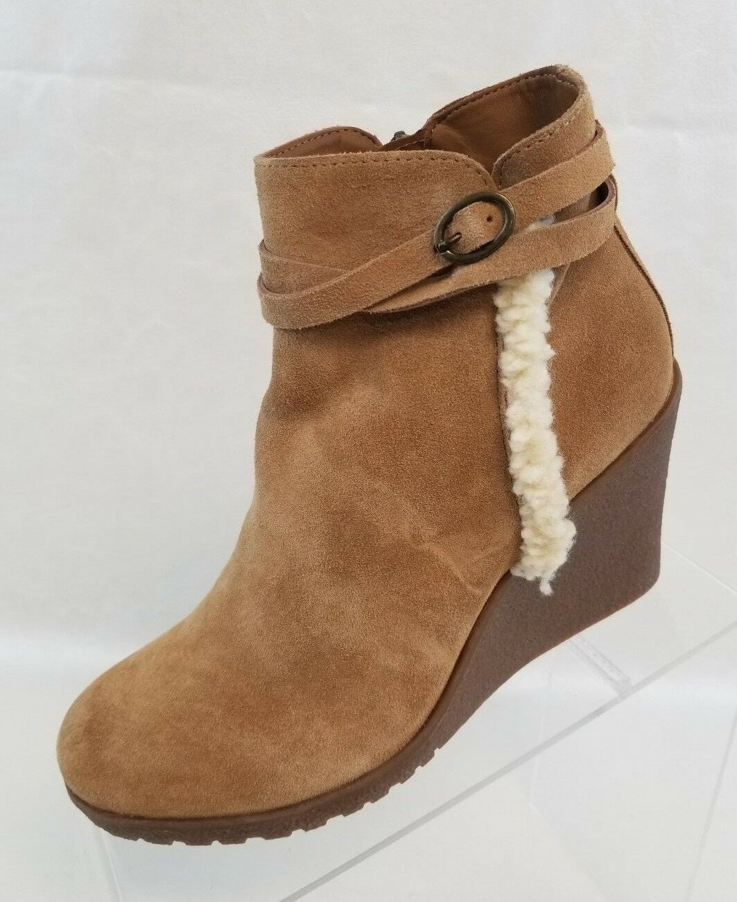 Bjorndal Bjorndal Bjorndal Ankle Boots Wedge Amy Zip Tan Leather Pull On Womens shoes Size 8 NEW 903bec