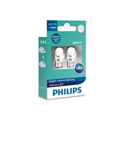 Philips Ultinon Led W5w T10 501 194 6000k Cool White Light Bulbs 11961ulwx2 12v Ebay
