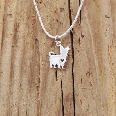 100% Wahr Sterling Silver Tiny Yorkshire Terrier Dog Heart Charm Pendant Necklace Gift Box