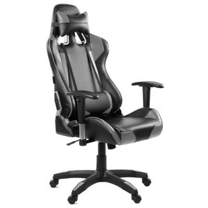 Silla oficina gaming sillon despacho escritorio reclinable giratoria Gris McHaus