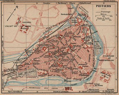 Vintage Town City Map Plan Poitiers Vienne 1926 Old Vintage Chart