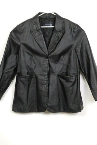 VENEZIA JEANS  Womens Leather Jacket Black Plus Si