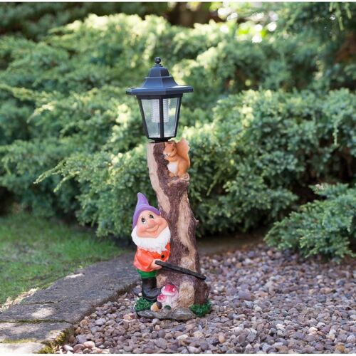 Purple Good Quality Beautiful Outdoor Garden Gnome with Solar Powered Lamp Post
