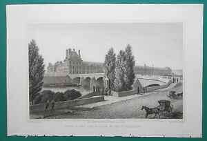 PARIS-Pont-Royal-and-Palace-of-Tuilleries-1821-Cpt-Batty-Antique-Print