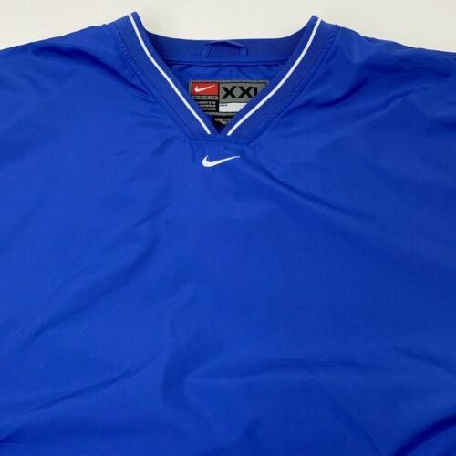 Vintage NIKE Team Royal Blue V-Neck Pullover Windb