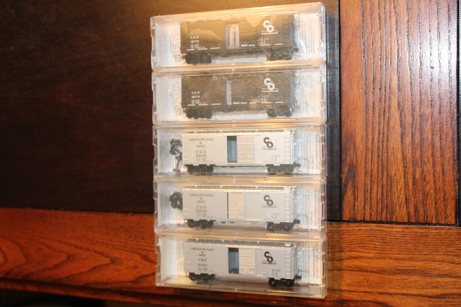 N SKALL Lot av 5 (RARE) CHESAPeake och OHIO 40 'ståARD låda bil, AV MIKROPTBILAR