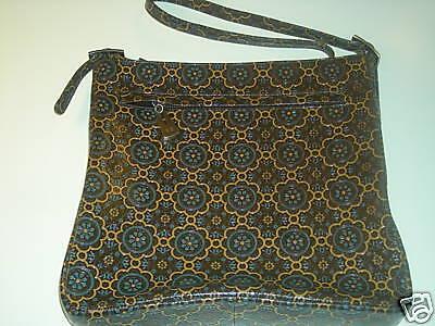 Vaneli Handbag Leather Blue Tanamp; Flowers With Brown 1FJKlTc