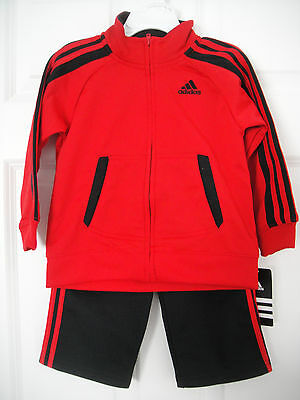 ADIDAS NWT Boy Jacket Pant Top Track Suit Red Black Tricot Warm up Zip 12 24 24M
