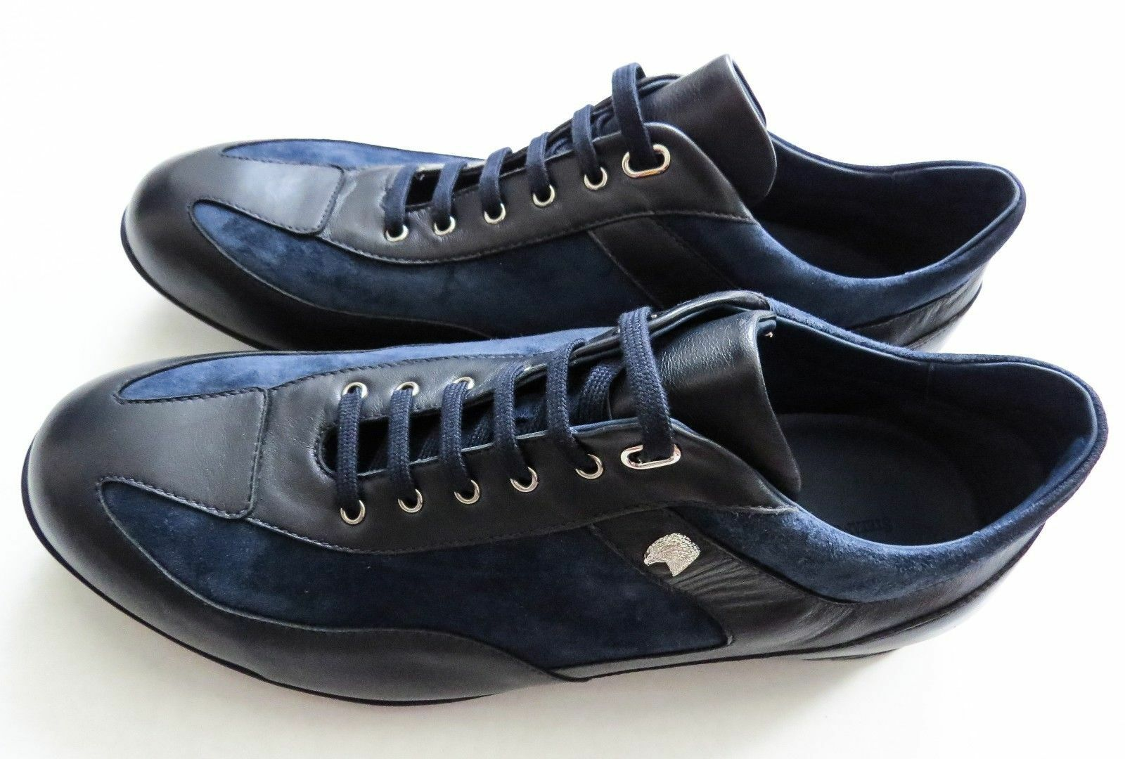 $1640 STEFANO RICCI Blue Leather Suede Sneakers Shoes Size 9 US 42 Euro 8 UK