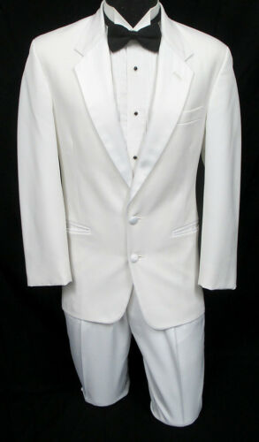 Men/'s White Tuxedo Jacket with Pants Prom Wedding Cruise Mason Halloween Costume