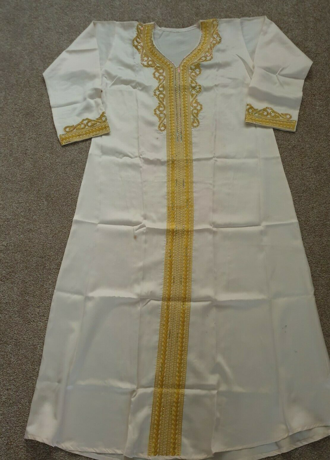 Elegant Womens Silky Satin Beige (K) Dress Abaya Embroidered & belt Size 56