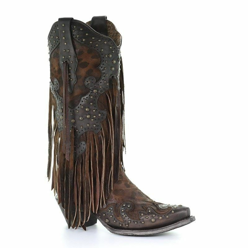 Corral Women's Western Cowgirl Honey Goat Overlay Studs Fringes Boots A3618