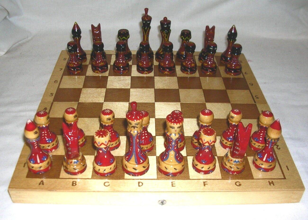 1980 Russian Wooden Hand Painted Folk Art  Chess Set + Board 3 1 4  King