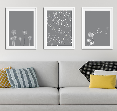 Grey Dandelion Print / Picture Home Decor, Living Dining Room Wall Art Mid  | eBay