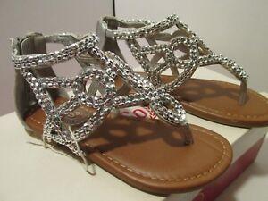 4bf7c12157c8 Girls Sandals toe thong SO  festive  silver rhinestones Size 1