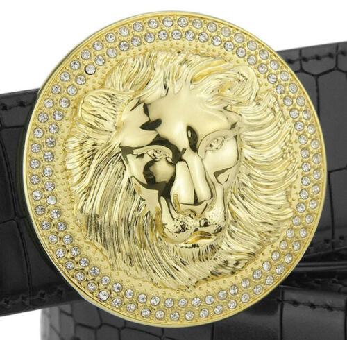 MENS DESIGNER BELTS DIAMOND BUCKLE CROCODILE LEATHER H BELT FOR MEN LION HEAD UK