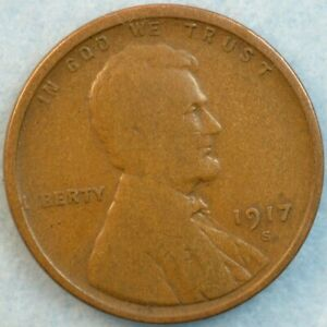 1917 S Lincoln Wheat Cent Penny Great Details San Francisco Mint FAST S&H 36287
