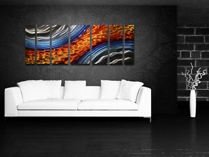 Large Metal Wall Art Modern Contemporary Abstract Painting Panels Blue Orange