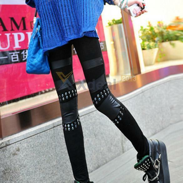 Women Ladies Punk Knee Rivet Studs Spike Patch Leggings Jeggings Leg wear Pants