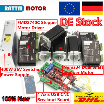 【ES】4 Axis Nema23 Dual shaft stepper motor 112mm 425oz-in 3A /&Driver USB CNC Kit