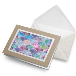 Greetings-Card-Biege-Pretty-Mermaid-Fish-Scales-2529