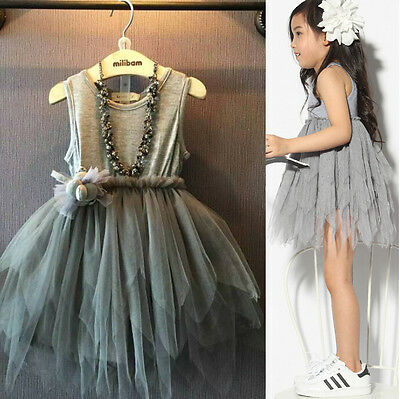 Kids Girls Toddler Sleeveless Princess Dress Bow Flower Tutu Dresses Party 2-7Y