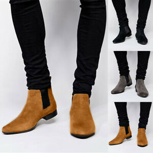 US-Mens-Flat-Suede-Leather-Chelsea-Chukka-Dress-Ankle-Boots-Casual-Slip-On-Shoes