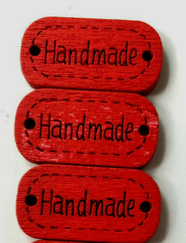 5 x wood Hand made labels knit stitch sewing Choose colours Craft clothes