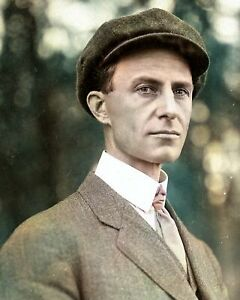 """1908 Wilbur Wright Old Photo 8.5/"""" x 11/"""" Reprint Colorized"""