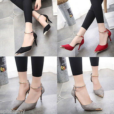 New Women's Glitter Ankle Strap Sandals High Heels Ladies Pointy Toe Pumps Shoes