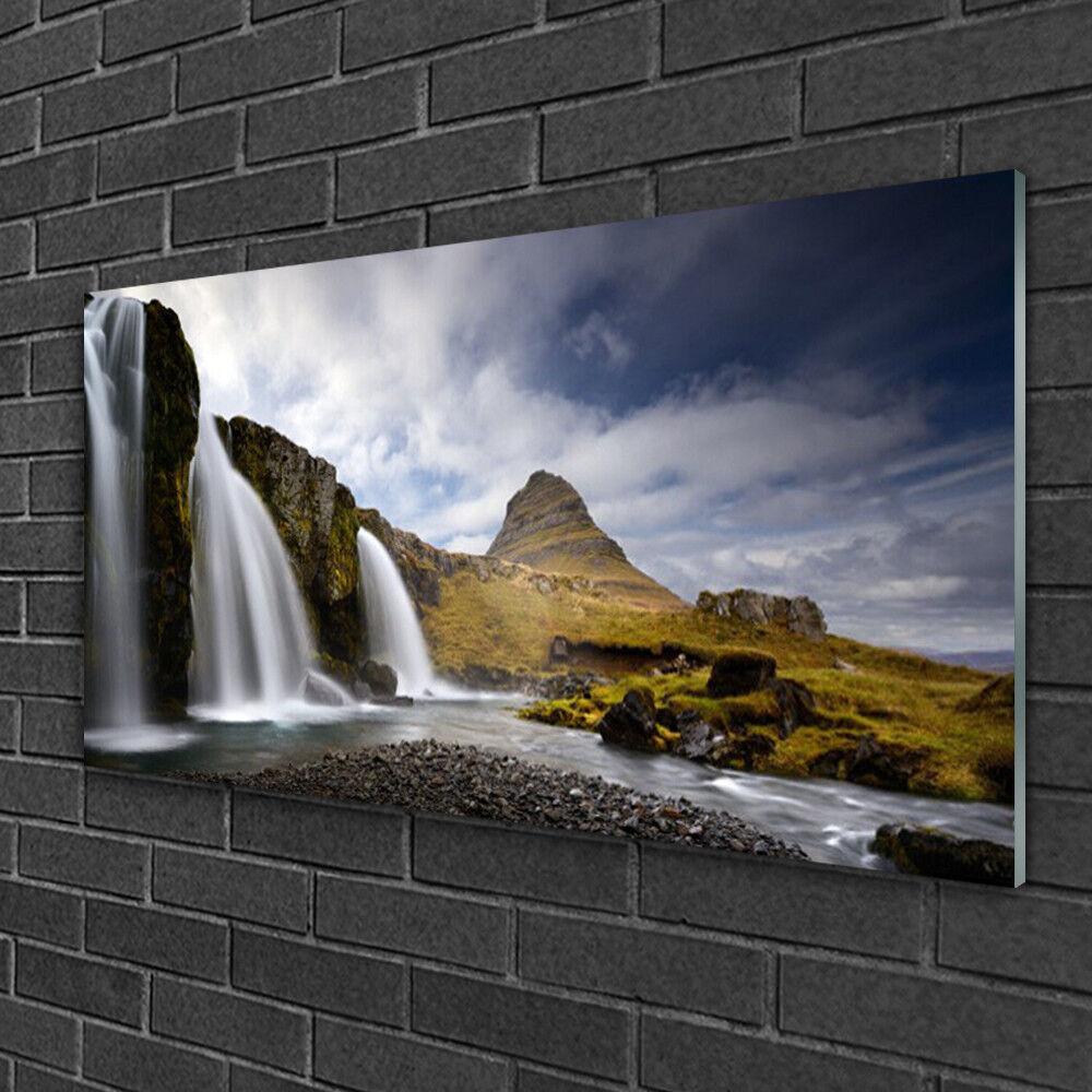 Image sur verre Tableau Impression 100x50 Paysage Cascade Montagnes