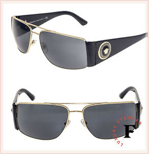 07a5a2d706e5 Image is loading VERSACE-Square-Wrap-VE2163-Black-Gold-Mirrored-Sunglasses-