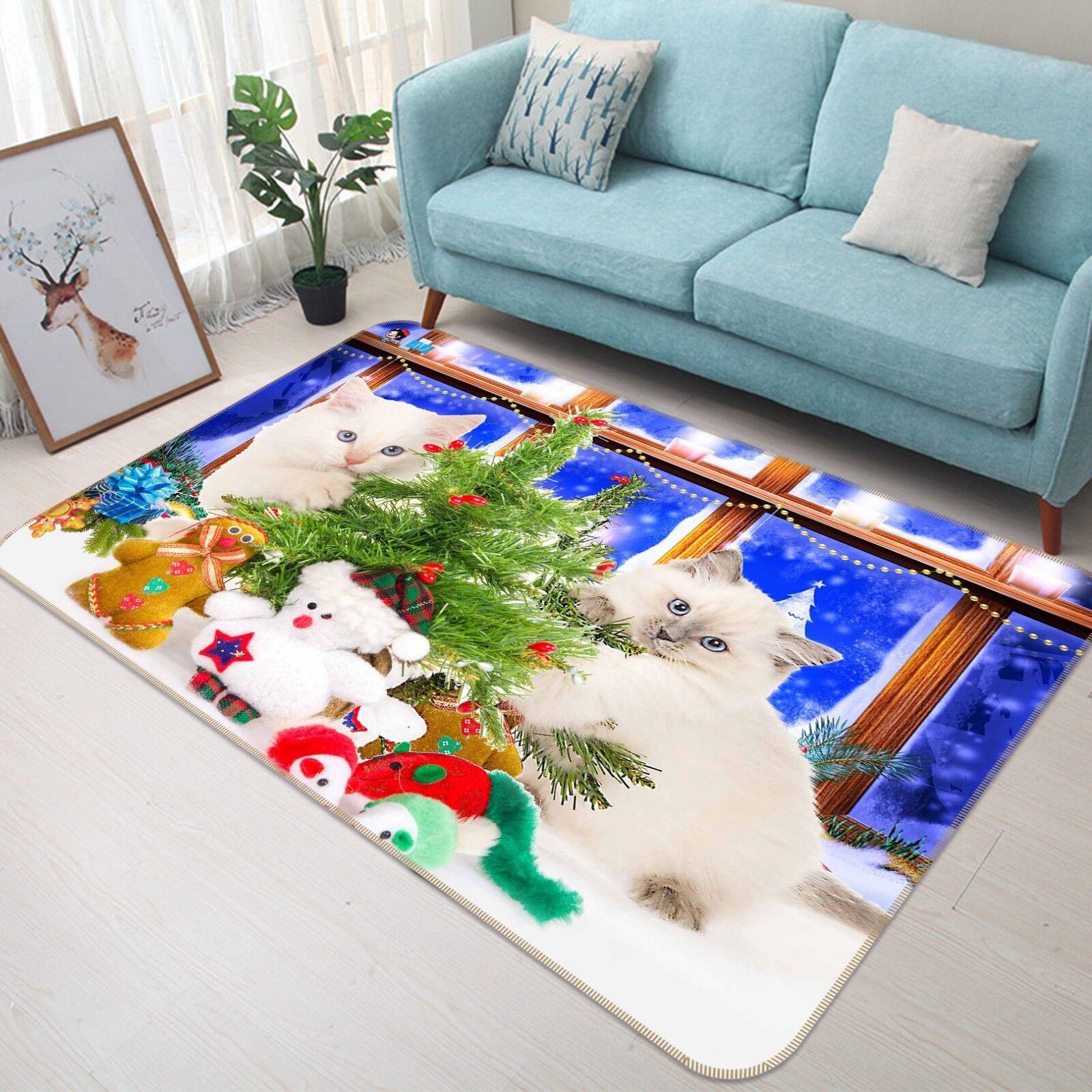 3D Cats Christmas 55 Non Slip Rug Mat Room Mat Quality Elegant Photo Carpet AU