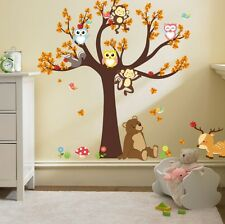 Owl Animal Wall Stickers Monkey Zoo Jungle Tree Nursery Baby Room Decal Mural