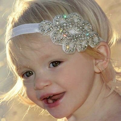 Bride Baby Diamond Elastic Tiara White Crystal Beaded Ribbon Headband Hairband
