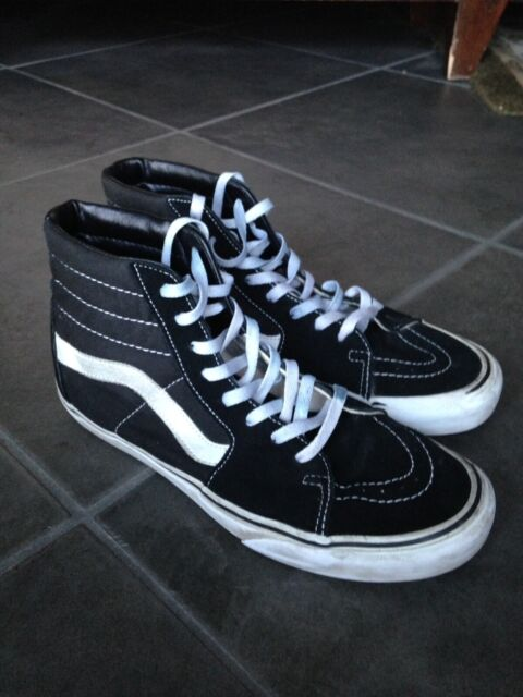 Vans Old Skool Off the Wall Mens Sz 9 Womens 10.5 Black White High Tops Canvas