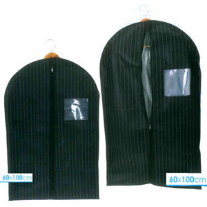 Pinstriped-Suit-Carrier-Breathable-Clothes-Dresses-Protector-Travel-Storage-Bag
