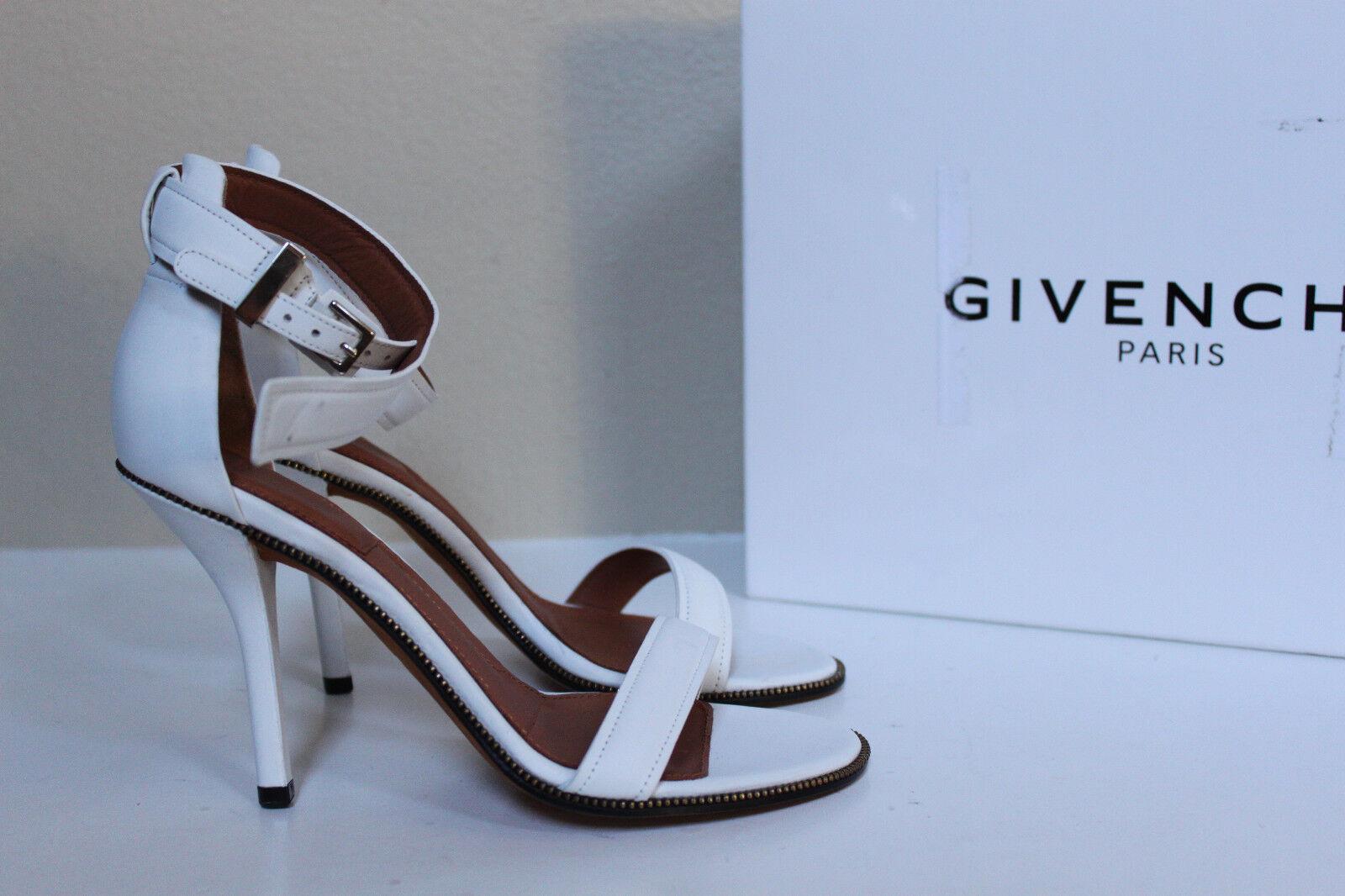 Nuevas Nuevas Nuevas Talla 6 36 Puntera Abierta De Cuero blancoo plara Givenchy Tobillo Sandalia Zapatos  punto de venta