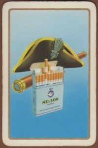 Playing-Cards-Single-Card-Old-Vintage-NELSON-CIGARETTES-Advertising-Tobacco-HAT