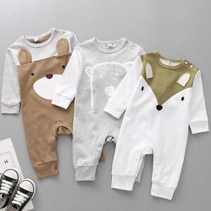 Newborn Infant Baby Boy Girl Cartoon Animal Cotton Romper Jumpsuit Clothes Uk Ebay