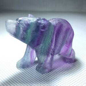 2-034-Hand-Carved-Rainbow-fluorite-bear-Natural-stone-Quartz-Crystal-skull-healing